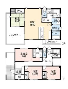 ウォークインクローゼット、シューズクローク、全居室収納完備、荷物の多い方にも安心ですね^^2階リビングで広々としたバルコニーのあるお家です^^