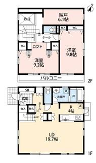 リビングは広々約20帖。2階には6.1帖の納戸やロフトもあり収納には困りません^^