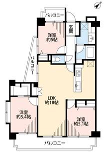 全居室5帖以上。広々とした約18帖のLDKがある間取りです。三面バルコニー付き。