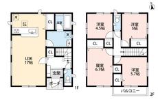 全居室収納付きの4LDKです。主寝室はWクローゼットとなっており、荷物の多い方でも安心です^^