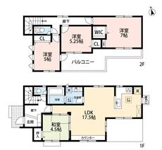 4LDKとウォークインクローゼットでゆとりのある暮らしが実現。リビングと隣接する和室を合わせると22帖の開放感あふれる空間です。2階は洋室が3部屋あるので、お子様が大きくなっても安心ですね^^