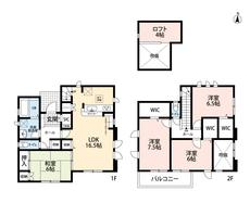 4LDKとロフトとウォークインクローゼットでゆとりのある暮らしが実現。リビングは隣にある和室を合わせると22帖以上の開放感あふれる空間です。