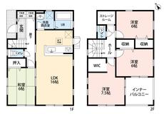 同仕様写真。4LDKとウォークインクローゼットでゆとりのある暮らしが実現。リビングは隣にある和室を合わせると22帖以上の開放感あふれる空間です。2階は洋室が4部屋あるので、お子様が大きくなっても安心。