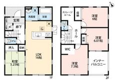 同仕様写真。4SLDKとウォークインクローゼットでゆとりのある暮らしが実現。2階は洋室が3部屋あるので、お子様が大きくなっても安心ですね。