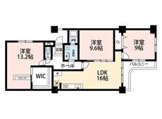 角部屋です。各洋室広々^^13.2帖・9.6帖・9帖、LDKは16帖確保してます。収納も充実しています^^