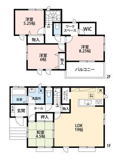 LDKは約19帖。キッチンにはパントリースペース付き。2階寝室にはワークスペースやウォークインクローゼットがあります^^角地なので日当たり通風良好です^^
