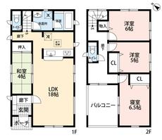 リビングは隣接の和室を合わせると20帖以上の開放感あふれる空間です。2階は洋室が3部屋あるので、お子様が大きくなっても安心ですね。