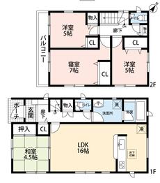 駐車場2台分付きです。LDKと和室を合わせると20帖以上の開放感あふれる空間となります。