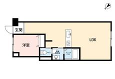 専有面積約47㎡の広々1LDKです。荷物の多い単身の方や、共働きのご夫婦の方にもおすすめです。