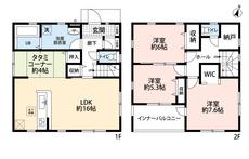リビングは隣にある畳コーナーを合わせると20帖の開放感あふれる空間です。
