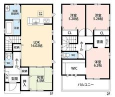 2階約6.2帖の洋室にはテレワーク時などに便利な書斎スペース付き
