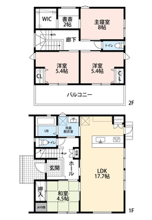 2号地・4LDK、ウォークインクローゼット、書斎・¥3700万円土地面積183.66平米建物面積104.33平米