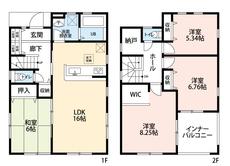 4SLDKとウォークインクローゼット、納戸付きでゆとりのある暮らしが実現。リビングは隣にある和室を合わせると22帖の開放感あふれる空間です。