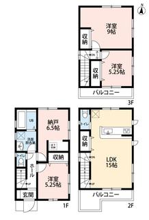 3SLDKで全居室収納あり、ゆとりのある暮らしが実現。前面道路も広々6mの道幅で駐車の苦手な方でも楽々駐車できて安心です。