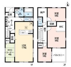 3SLDKとウォークインクローゼットでゆとりのある暮らしが実現。 2階は洋室が3部屋と納戸もあるので、お子様が大きくなっても安心ですね。
