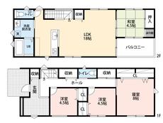 4LDKとウォークインクローゼットでゆとりのある暮らしが実現。 2階は洋室が4部屋あるので、お子様が大きくなっても安心ですね。