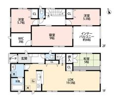 4LDKとウォークインクローゼットでゆとりのある暮らしが実現。リビングは隣接の和室を合わせると24.5帖の開放感あふれる空間です。2階は洋室が3部屋あるので、お子様が大きくなっても安心ですね。