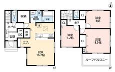 各室収納やSICなど収納豊富な間取りです。リビングにはワークスペースがあるので在宅勤務の時も安心です。