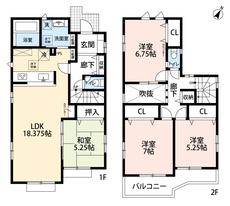 4LDKとウォークインクローゼットでゆとりのある暮らしが実現。リビング18帖以上、玄関上部の吹抜で開放感あふれる空間です。2階は洋室が3部屋あるので、お子様が大きくなっても安心ですね^^