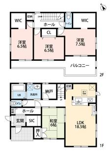 全居室6帖以上の、納戸付き物件です。ウォークインクローゼットが付いた洋室が2部屋あり、3部屋続きのバルコニーもおススメです。