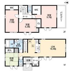 カウンターキッチンをはじめとしたとても使いやすい間取り。2階にも注目です^^WICが2か所あるので収納も充実しています。