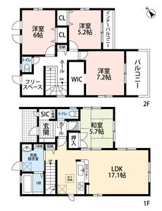 嬉しいシューズインクロークやフリースペースがある物件です。バルコニーは南側に2箇所あり、2階洋室にあるウォークインクローゼットは広々大容量です。
