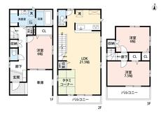 1階には車庫があるので車を雨風から守りやすいです^^全居室6帖以上あるので寝室としても使いやすいです。各室に収納がるので便利ですね。