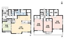 4LDKとウォークインクローゼットでゆとりのある暮らしが実現。リビングは隣接の和室を合わせると22.2帖の開放感あふれる空間です。2階は洋室が3部屋あるので、お子様が大きくなっても安心ですね。