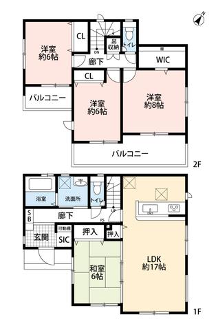 4LDKとウォークインクローゼットでゆとりのある暮らしが実現。リビングは隣接の和室を合わせると23帖の開放感あふれる空間です。2階は洋室が3部屋あるので、お子様が大きくなっても安心ですね。