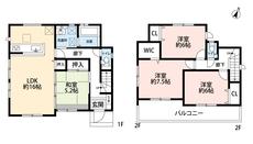 4LDKとウォークインクローゼットでゆとりのある暮らしが実現。2階の全洋室、6帖以上あるので寝室として使いやすいですね^^