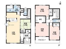 カウンターキッチンをはじめとしたとても使いやすい間取り。SICやWICなど収納充実しています^^2階の全居室6帖以上なので寝室として使いやすいですね。
