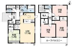 4LDKとWICやSICでゆとりのある暮らしが実現。リビングにはワークスペースがあるのでリモートワークの際に便利ですね^^2階の全居室、6帖以上なので寝室として使いやすいですね。