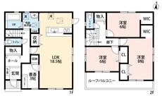 2階の全居室、6帖以上なので寝室として使いやすいですね^^1階にはリモートワークの際に便利な書斎があります。収納も充実しています。