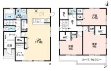 リビングは21.5帖あるので家族みんなでゆったり過ごせる広さがあります。リモートワークの際に便利なワークスペースも付いています。2階の全居室、6帖以上あるので寝室として使いやすいですね。