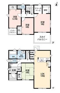 ウォークインクローゼット、シューズインクローゼット、フリースペースでゆとりのある暮らしが実現。リビングは隣接の和室を合わせると24帖の開放感あふれる空間です。
