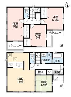 リビングと和室を合わせると20帖の広々空間に^^2階の全洋室、6帖以上なので使い勝手が良いですね^^9帖の洋室は主寝室として広々使えそうです。