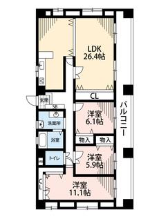 3LDK、価格3480万円、専有面積115.92㎡、バルコニー面積25.2㎡