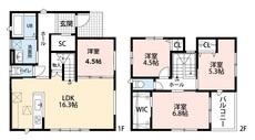 リビングは隣接の洋室を合わせると20帖以上の開放感あふれる空間です。2階は洋室が3部屋あるので、お子様が大きくなっても安心ですね。