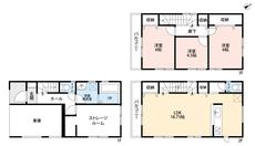 車庫付き住宅です^^1階にはストレージルームもあるのでたくさんのものが収納できそうです。2階リビングは18帖あるので家族みんなでゆったりと過ごせそうです。
