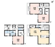 1階と3階の洋室にはWICがあります^^たくさんの洋服も2か所に分けて首脳できそうです。リビング収納もあるので収納が充実しています。