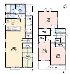 4LDKとウォークインクローゼットでゆとりのある暮らしが実現。リビングは隣接の和室を合わせると22帖以上の開放感あふれる空間です。2階は洋室が3部屋あるので、お子様が大きくなっても安心ですね^^