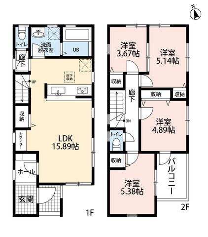 リビングには、勉強、在宅ワークやネット環境に便利なカウンターがあります^^2階は洋室が4部屋あるので、お子様が大きくなっても安心ですね。