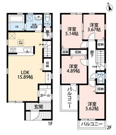 4LDK、全居室収納付きでゆとりのある暮らしが実現。2階は洋室が4部屋あるので、お子様が大きくなっても安心ですね^^