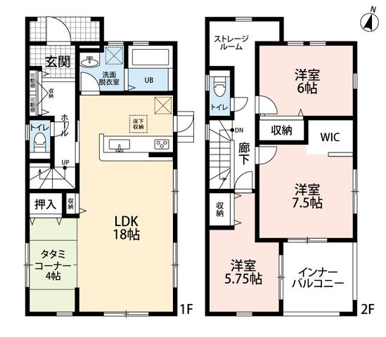 3LDKとストレージルームでゆとりのある暮らしが実現。リビングは隣にある畳コーナーを合わせると20帖以上の開放感あふれる空間に。2階は洋室が3部屋あるので、お子様が大きくなっても安心ですね。