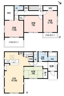 4LDKとウォークインクローゼットでゆとりのある暮らしが実現。リビングは隣にある和室を合わせると19帖以上の開放感あふれる空間です。2階は洋室が3部屋あるので、お子様が大きくなっても安心ですね。