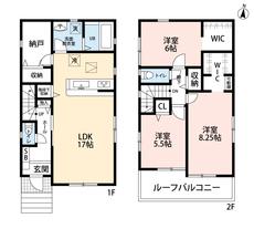 3LDKと納戸を設けた間取りです。洋室には2部屋にウォークインクローゼットがあり、お荷物の多いご家族様でもゆとりのある暮らしが実現。ルーフバルコニーにも注目です。