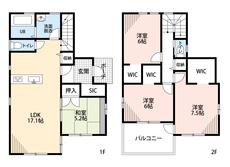和室がある4LDKにくわえ、ウォークインクローゼットやシューズインクロークなど、ゆとりのある暮らしが実現。2階の洋室は6帖以上と広々使えます。