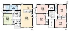 5LDKあるので家族それぞれの個室が用意できそうですね^^WICや階段下収納、各居室に収納があるので収納場所には困らなさそうですね^^