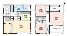 4LDKとウォークインクローゼットでゆとりのある暮らしが実現。2階は洋室が3部屋あるので、お子様が大きくなっても安心ですね^^