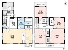 4LDKと書斎でゆとりのある暮らしが実現。2階は洋室が4部屋あるので、お子様が大きくなっても安心ですね。